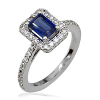 Thin Diamond Ring with Sapphire Center Stone in 14K