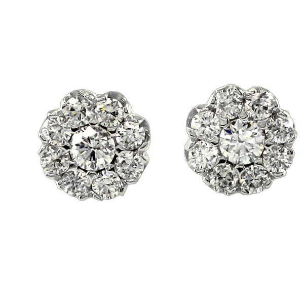 Diamond Circle Earrings in 18K Gold, 1.16CT, Thin Version