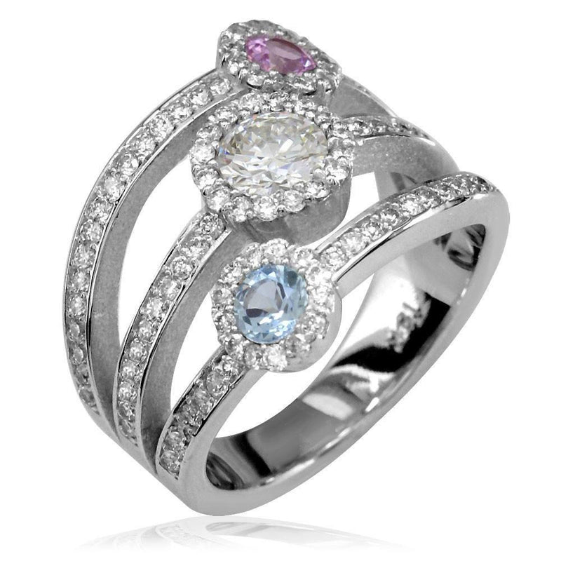 3 Row Diamond Band with Gemstone Centers