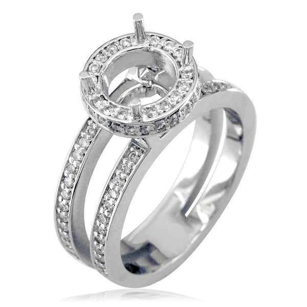 Diamond Halo Engagement Ring Setting in 18K White Gold, 0.60CT