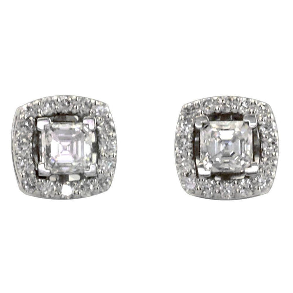 Asscher Cut Diamond Studs with Diamond Jackets in 18K