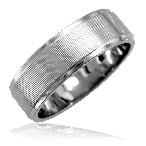 Mens 7mm Band with Carved Lines in 14K White Gold