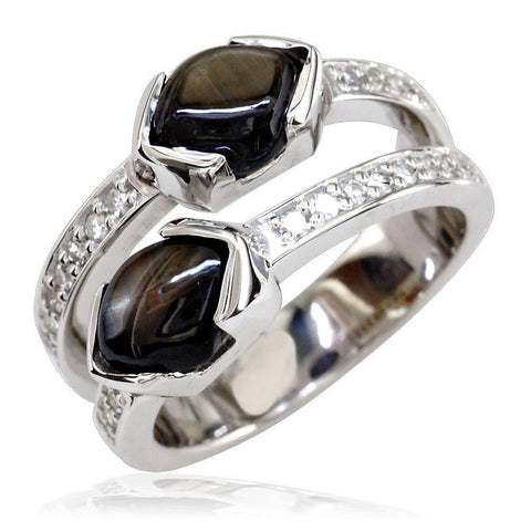 2 Row Gemstone and Diamond Ring LR-K0163