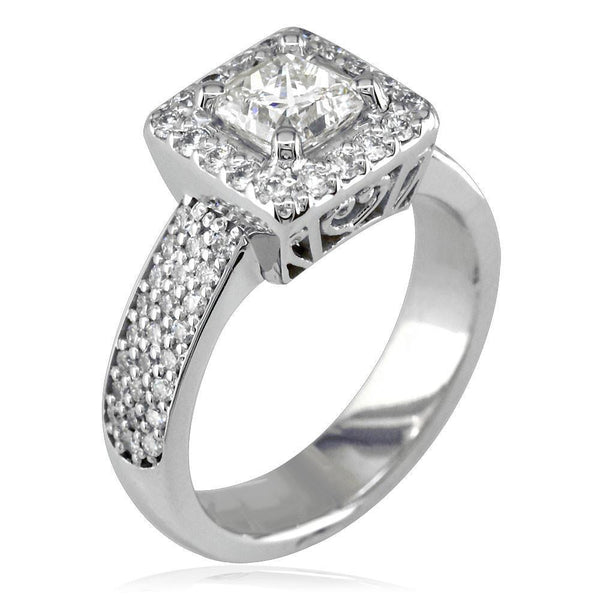 Diamond Halo Engagement Ring Setting in 14K White Gold, 0.75CT