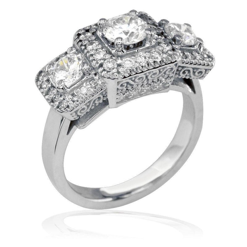 3 Stone Diamond Ring with 0.55CT Center