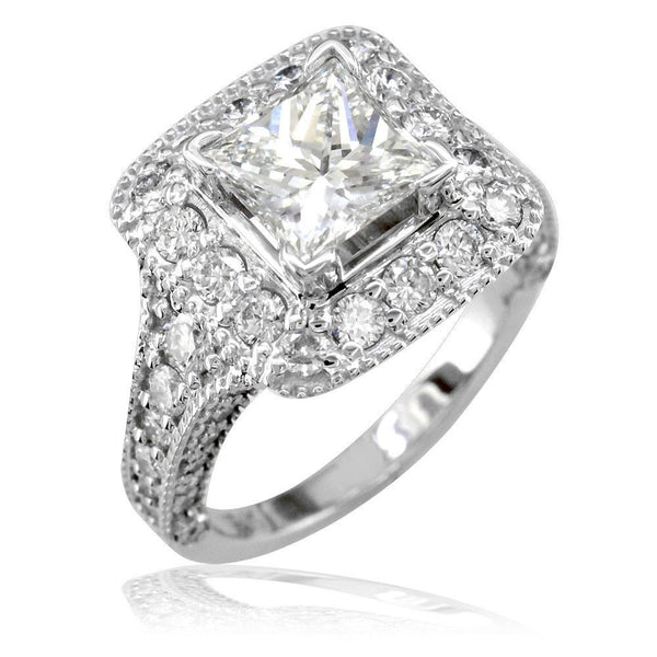 Princess Cut Diamond Halo Engagement Ring Setting in 18K White Gold, 1.60CT