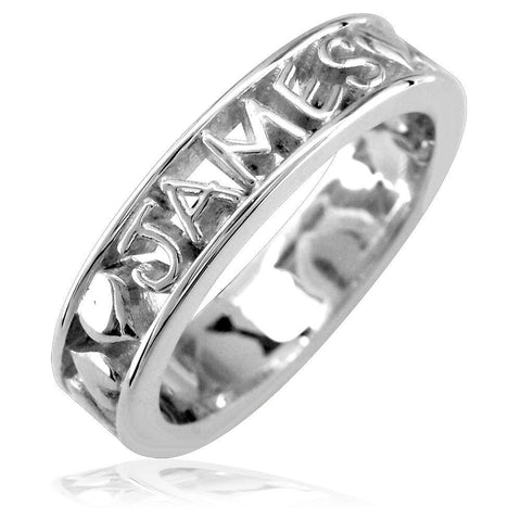 Any Name Framed Stackable Heart Name Ring in 14k White Gold