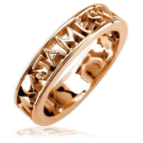 Any Name Framed Stackable Heart Name Ring in 14k Pink, Rose Gold