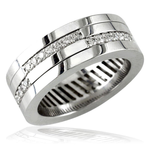 Mens 14K Diamond Ring with Movable Inner Bands