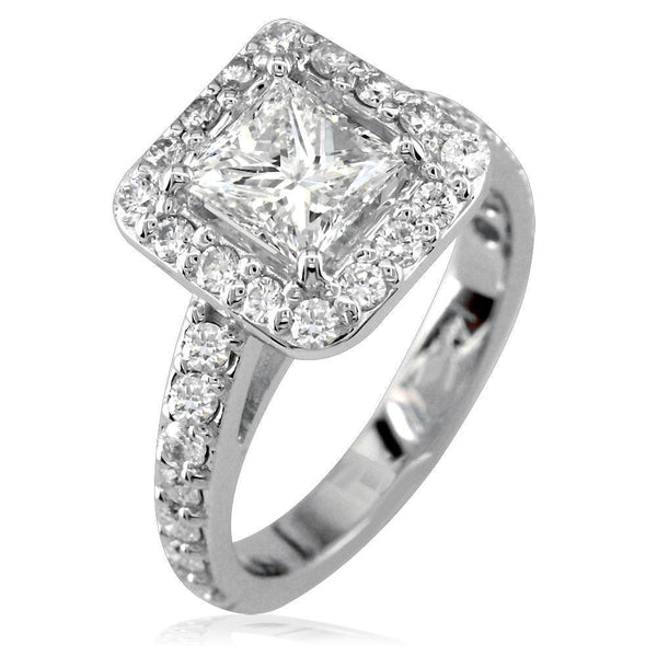 Diamond Engagement Ring with Square Diamond Halo and Diamond Wedding Band E/W-K0313