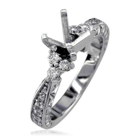 Diamond Engagement Ring Setting in 14K White Gold, 0.47CT