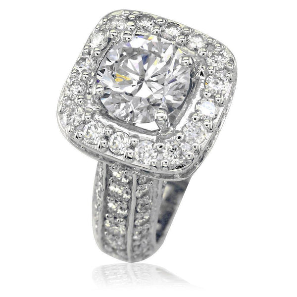 Diamond Engagement Ring Setting in 18K White Gold, 2.25CT