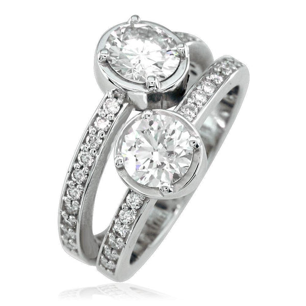 2 Round Diamonds Bypass Ring LR-K0422