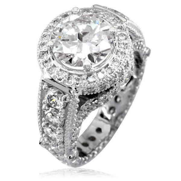 Diamond Engagement Ring with Diamond Halo E/W-K0436