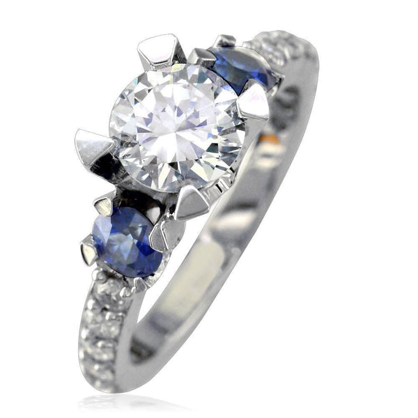 Diamond Engagement Ring with Diamond and Sapphire Sides E/W-K0463