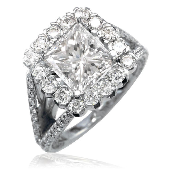 Diamond Halo Engagement Ring Setting in 14K White Gold, 1.60CT