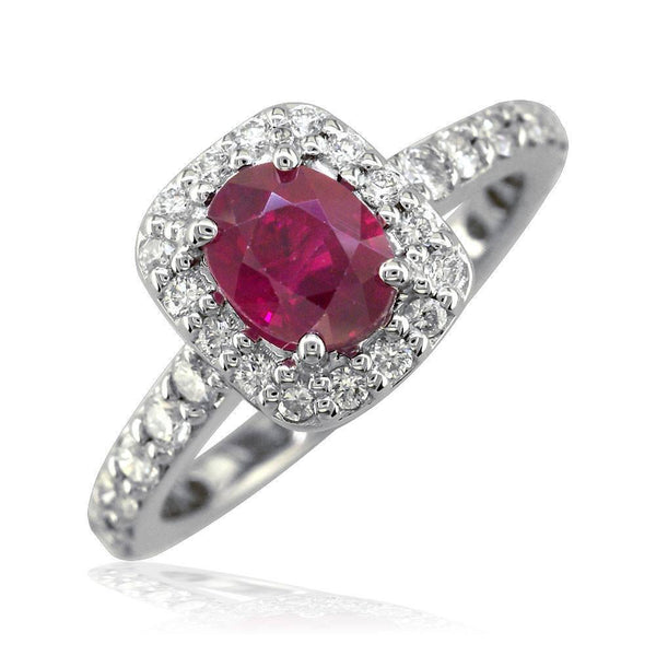 Oval Ruby Cushion Diamond Halo Ring in 14K White Gold