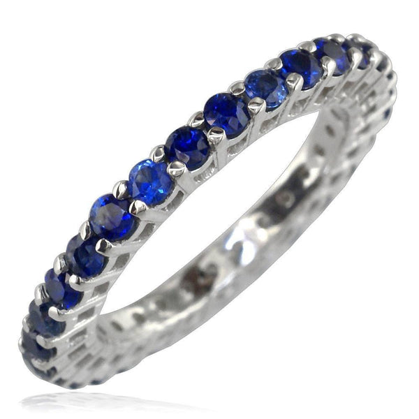14K White Gold Blue Sapphire Eternity Ring, 1.16CT