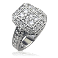 Diamond Halo Ladies Ring with an Emerald Cut Shape Halo,14K White Gold, 2.00CT