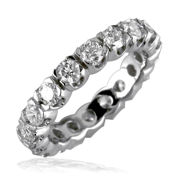 14K White Gold Round Diamonds Eternity Band, 1.80CT, Custom 4 Prong Setting