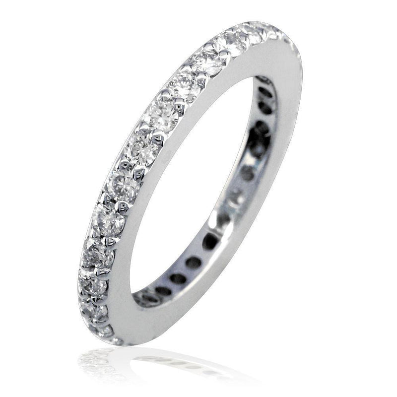 14K White Gold Round Diamonds Eternity Wedding Band, 0.90CT