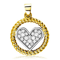 Diamond Heart and Rope Circle Pendant in 14k White and Yellow Gold