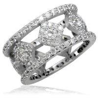Wide Diamond Ring in 14K White Gold, 2.06CT, 10mm Wide