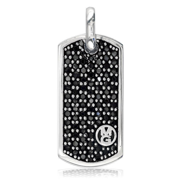 Initials Dog Tag Pendant with Black Diamonds P-K0774