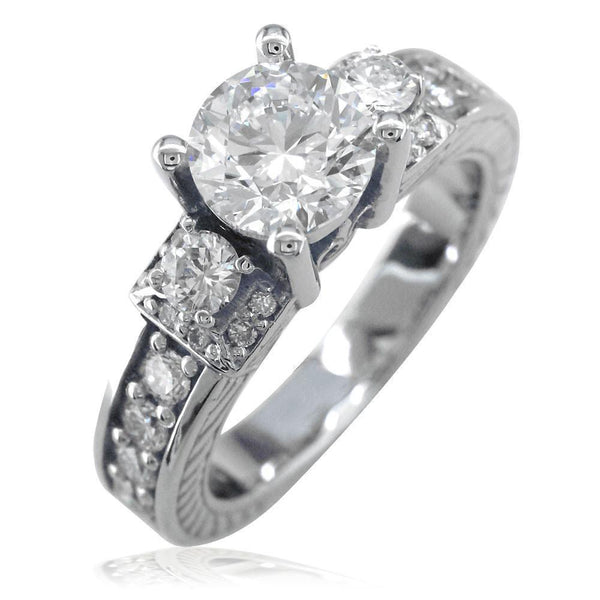Diamond Engagement Ring Setting in 14K White Gold, 0.75CT