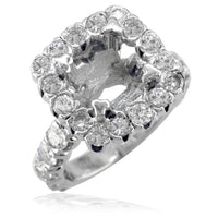 Diamond Halo Engagement Ring Setting in 14K White Gold, 2.76CT