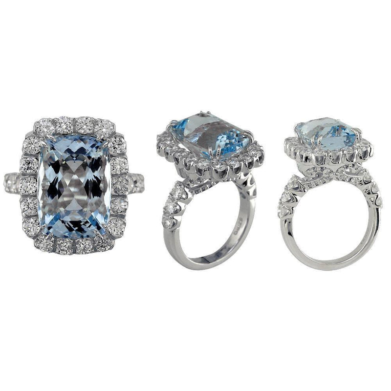 Large Aquamarine and Diamond Ring in 18K White Gold