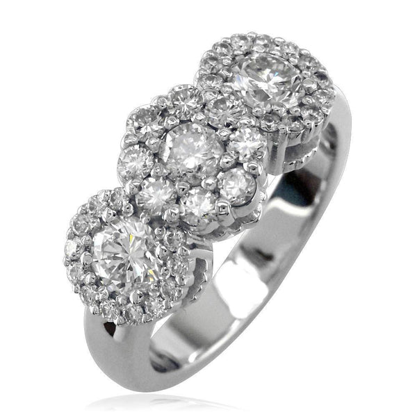 3 Diamond Halos Ring LR-K0824