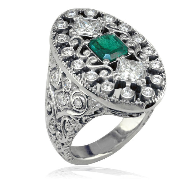 Large Vintage Style Emerald and Diamond Ring in 14K White Gold
