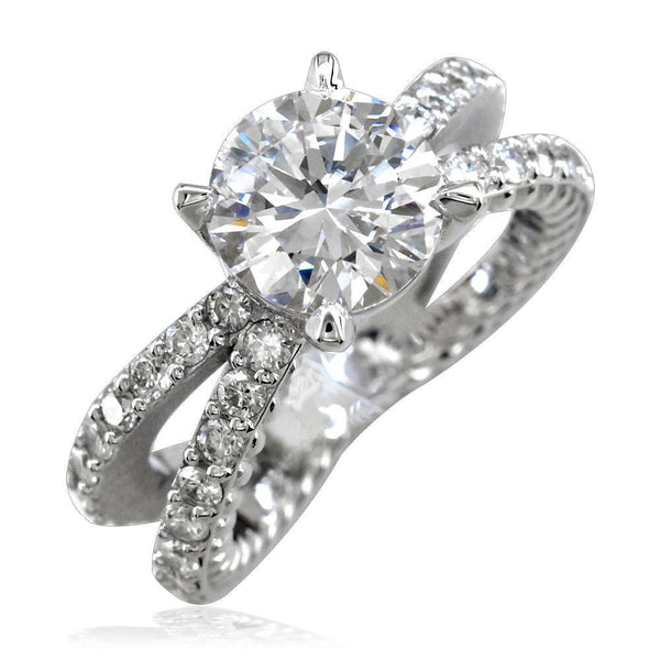 2 Row Diamond Rope Ring Engagement Ring E/W-K0832