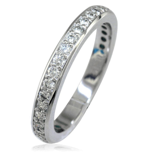 14K White Gold Diamond Wedding Band, 0.65CT