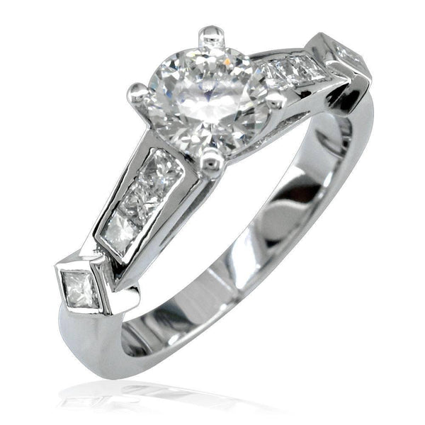 Diamond Engagement Ring Setting in 14K White Gold, 0.54CT Princess Cut Side Stones