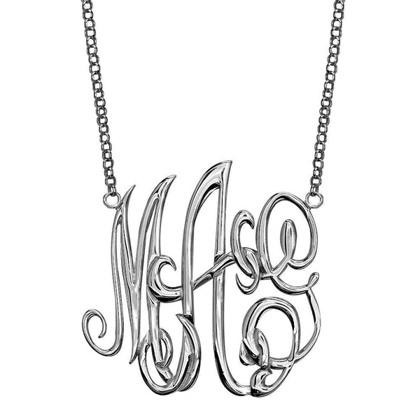 Monogram Charm and Chain, 35mm in Sterling Silver