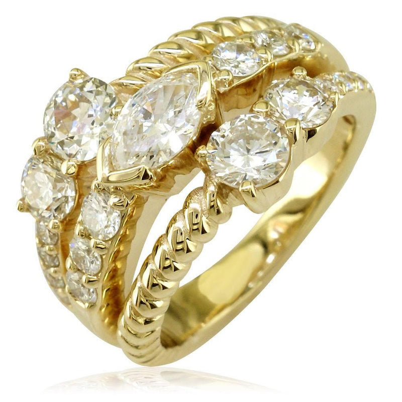 Wide 3 Row Marquise and Round Diamonds Ring in 14K Yellow Gold