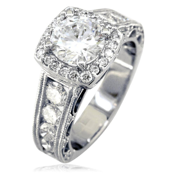 Vintage Style Diamond Halo Engagement Ring Setting in 14K White Gold, 1.55CT