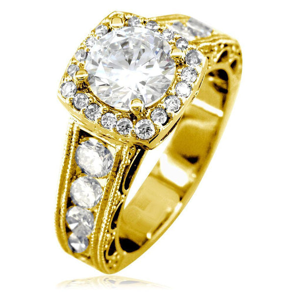 Vintage Style Diamond Halo Engagement Ring Setting in 14K Yellow Gold, 1.55CT