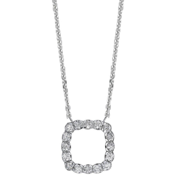 Cushion Shape Diamond Halo Pendant and Chain in 14K White Gold, 1.00CT, 16""