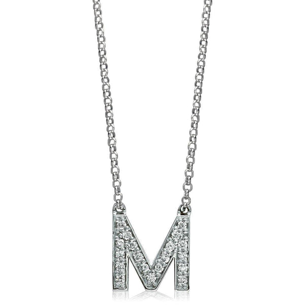 Diamond Initial M Pendant and Chain in 14K White Gold, 0.38CT, 16""