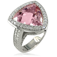 Large Trillion Shape Smoky Rose Quartz and Diamond Ring in 14K White Gold