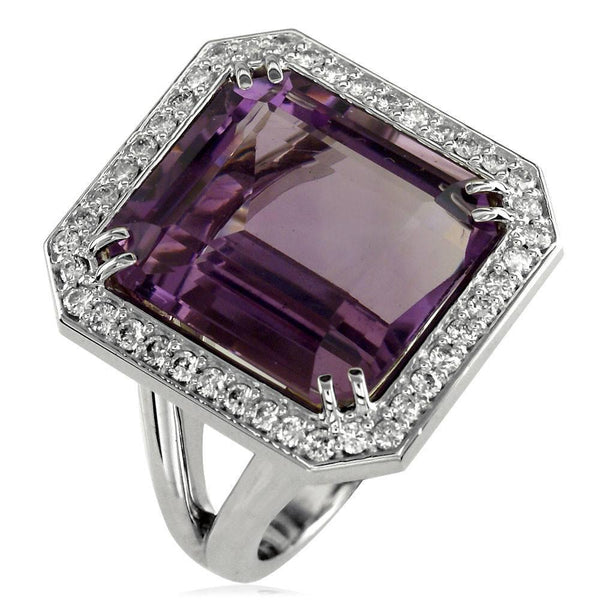Large Emerald Cut Amethyst and Diamond Halo Ring in 14K White Gold