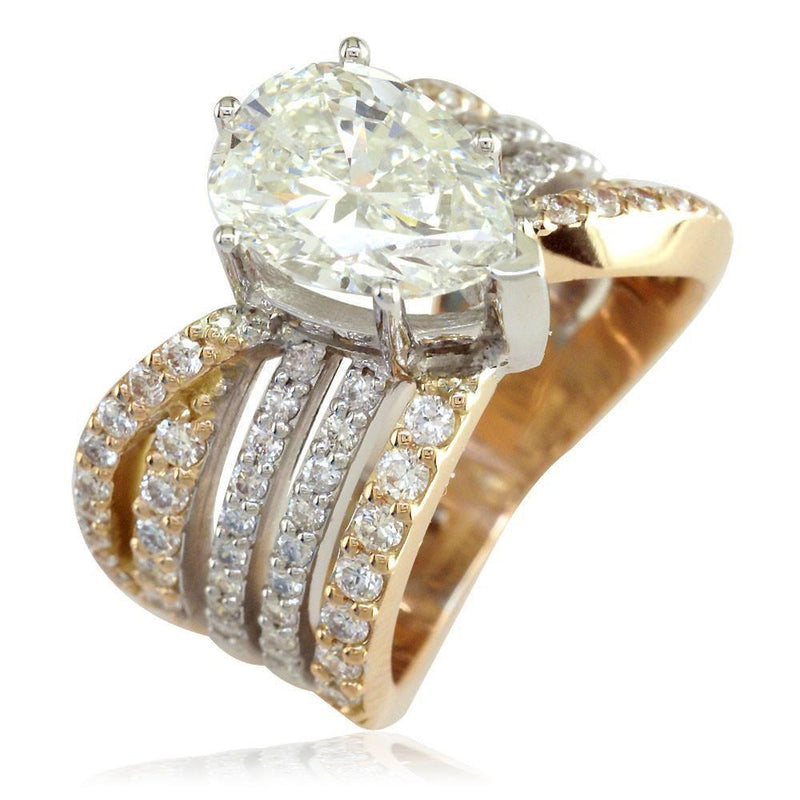 5 Row Semi Mount Ring for Large Pear Shape Diamond in 14K White and Pink Gold, 2.25CT