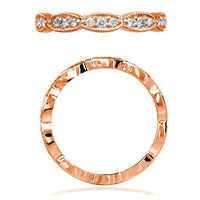 Scalloped Band with Round Diamonds, 0.25CT in 14K Pink Gold