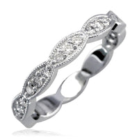 Scalloped Band with Round Diamonds, 0.25CT in 18K White Gold
