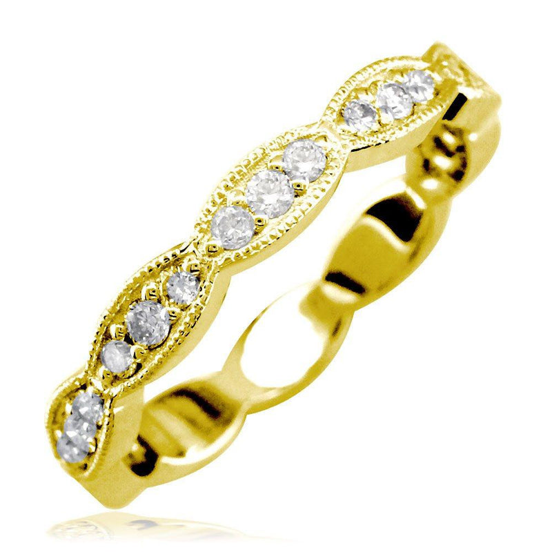 Scalloped Band with Round Diamonds, 0.25CT in 18K Yellow Gold