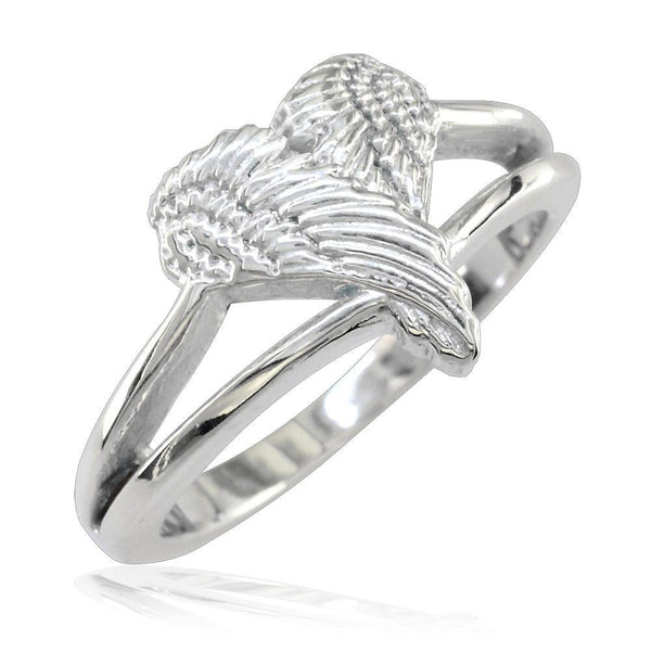 Small Angel Heart Wings Ring, Wings Of Love, 12mm in 14K White Gold