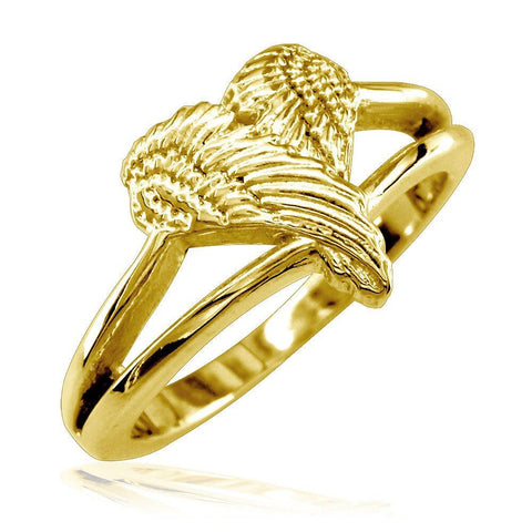 Small Angel Heart Wings Ring, Wings Of Love, 12mm in 14K Yellow Gold